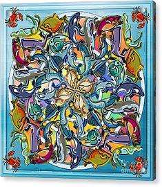 Mandala Fish Pool Acrylic Print by Bedros Awak