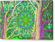 Acrylic Print featuring the painting Mandala Forest by Hidden Mountain