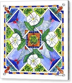 Mandala IIi - White Hibiscus Acrylic Print by Diane Thornton
