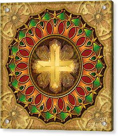 Mandala Illuminated Cross Acrylic Print by Bedros Awak