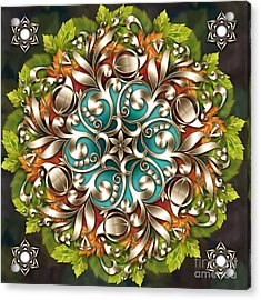 Mandala Metallic Ornament Acrylic Print by Bedros Awak