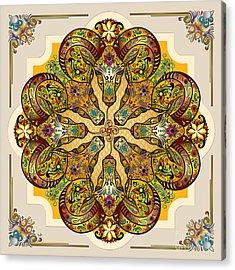 Mandala Sacred Rams - Bright Version Acrylic Print by Bedros Awak
