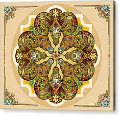 Mandala Sacred Rams - Bright Version Sp Acrylic Print by Bedros Awak