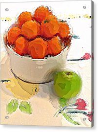 Mandarin With Apple Acrylic Print by Alexis Rotella