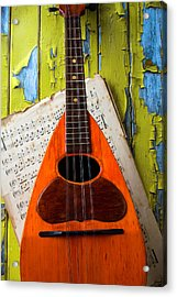 Mandolin And Old Sheet Music Acrylic Print by Garry Gay
