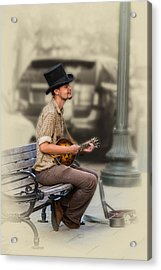 Mandolin Music Man Acrylic Print by John Haldane