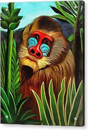 Mandrill In The Jungle Acrylic Print