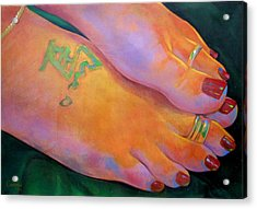 Mandy Toes Orange Acrylic Print by Jerrold Carton
