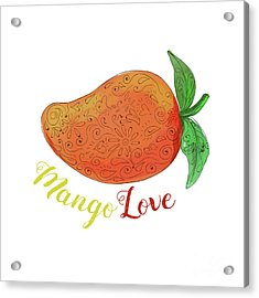 Mango Love Fruit Watercolor Mandala  Acrylic Print