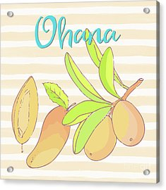 Mango Ohana Tropical Hawaiian Design Of Fruit And Family Acrylic Print by Tina Lavoie