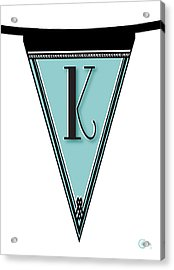 Pennant Deco Blues Banner Initial Letter K Acrylic Print
