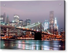 Manhattan And Brooklyn Bridge Under Fog. Acrylic Print by Shobeir Ansari