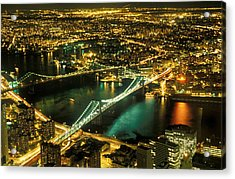 Manhattan And Brooklyn Bridges Acrylic Print