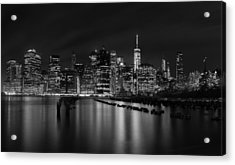 Manhattan At Night In Black And White Acrylic Print by Andres Leon