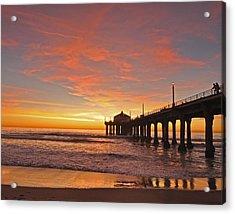 Manhattan Beach Sunset Acrylic Print by Matt MacMillan