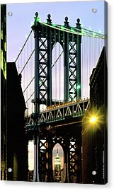 Manhattan Bridge And Empire State Building Acrylic Print by Mark Ivins