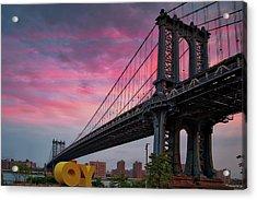 Acrylic Print featuring the photograph Manhattan Bridge At Sunrise  by Emmanuel Panagiotakis