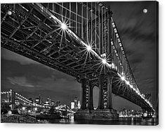 Manhattan Bridge Frames The Brooklyn Bridge Acrylic Print