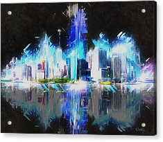 Manhattan Downtown Lights Acrylic Print