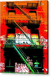 Manhattan Fire Escape Acrylic Print by Funkpix Photo Hunter