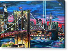 Manhattan Kinda Night Acrylic Print by Patti Schermerhorn