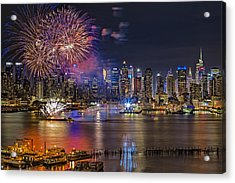 Manhattan Nyc Summer Fireworks Acrylic Print