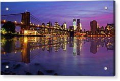 Acrylic Print featuring the photograph Manhattan Reflection by Mircea Costina Photography