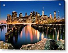 Manhattan Skyline At Dusk Acrylic Print by Az Jackson