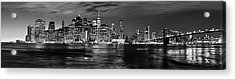 Manhattan Skyline At Dusk From Broklyn Bridge Park In Black And  Acrylic Print