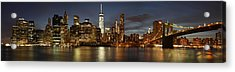 Acrylic Print featuring the photograph Manhattan Skyline At Night - Panorama by Nathan Rupert
