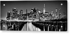 Manhattan Skyline Bw Acrylic Print by Az Jackson