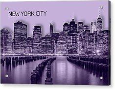 Manhattan Skyline - Graphic Art - Purple Acrylic Print