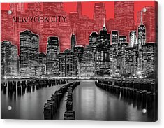 Manhattan Skyline - Graphic Art - Red Acrylic Print