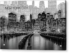Manhattan Skyline - Graphic Art - White Acrylic Print