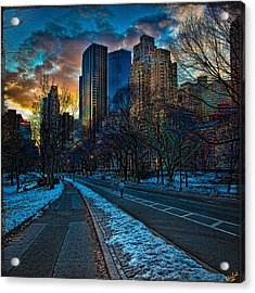 Manhattan Sunset Acrylic Print by Chris Lord