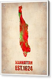 Manhattan Watercolor Map Acrylic Print by Naxart Studio