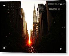 Manhattanhenge Sunset Over The Heart Of New York City Acrylic Print by Vivienne Gucwa