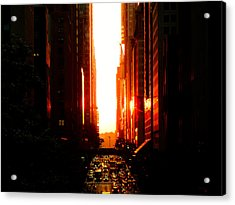 Manhattanhenge Sunset Overlooking Times Square - Nyc Acrylic Print by Vivienne Gucwa