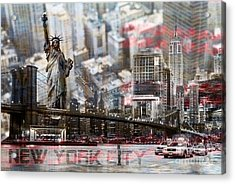 Acrylic Print featuring the photograph Manhatten From Above by Hannes Cmarits
