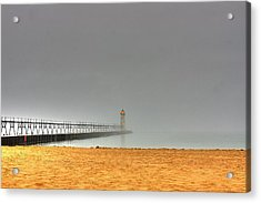Manistee Light And Fog Acrylic Print
