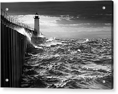 Acrylic Print featuring the photograph Manistee Pierhead Lighthouse by Fran Riley