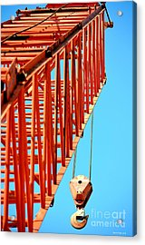 Manitowoc Red Boom Block And Hook Acrylic Print by Maria Urso