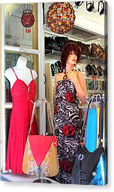 Mannequin With Stripped Flower Dress Acrylic Print