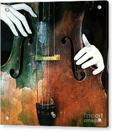 Manniquin On Cello  Acrylic Print by Steven Digman