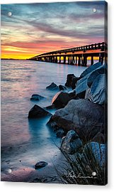 Manns Harbor Bridge Sunset 1127 Acrylic Print by Dan Beauvais