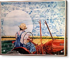 Manny During Wheat Harvest Acrylic Print by Lance Wurst