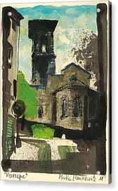 Acrylic Print featuring the painting Manosque  Provence Notre Dame De Romigier Print by Martin Stankewitz