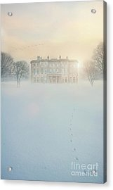 Mansion House In Snow Acrylic Print by Lee Avison