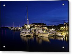Manteo Waterfront Marina At Night Acrylic Print