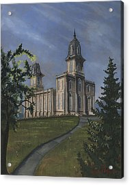 Manti Temple East Doors Acrylic Print by Jeff Brimley